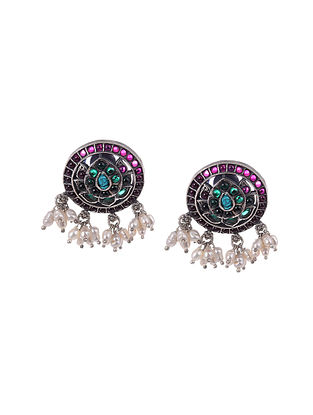 Maroon kempstone Encrusted Temple Silver Earrings With Pearls