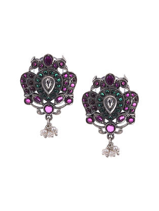 Maroon Green kempstone Encrusted Temple Silver Earrings With Pearls