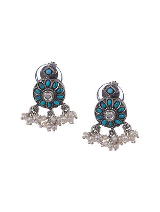 Turquoise Temple Silver Earrings With Pearls