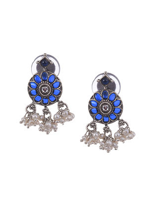 Blue kempstone Encrusted Temple Silver Earrings With Pearls