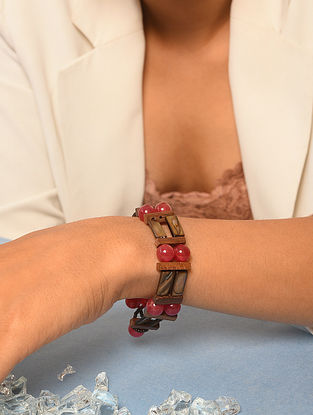 Red Brown Beaded Bracelet With Agate And Mother Of Pearl