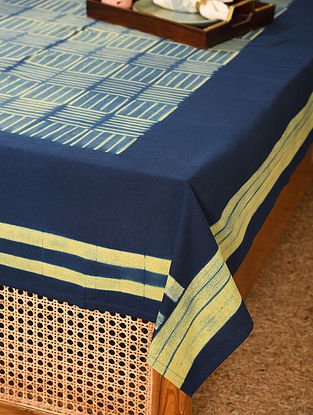 Yellow and Indigo Cotton Single Bed Cover (L - 88in, W - 61in)