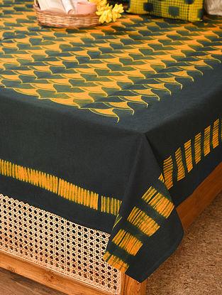 Orange and Indigo Cotton Single Bed Cover (L - 107in, W - 90in)