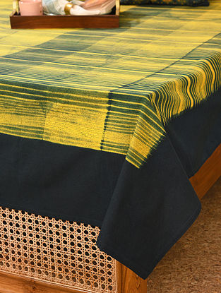 Yellow and Indigo Cotton Double Bed Cover (L - 107in, W - 88in)