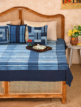 Indigo Cotton Double Bed Cover (L - 107in, W - 88in)