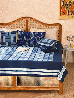 Indigo Cotton Double Bed Cover (L - 108in, W - 88in)