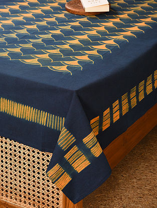 Orange and Indigo Cotton Double Bed Cover (L - 90in, W - 60in)