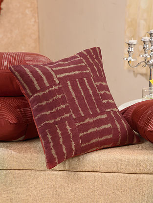 Maroon Cotton Ikat Cushion Cover (L - 15.5in, W - 15.5in)