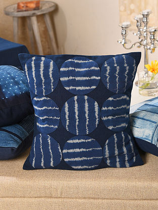 Indigo Cotton Ikat Patch Cushion Cover (L - 15.5in, W - 15.5in)