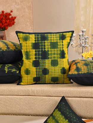 Green and Yellow Cotton Cushion Cover (L - 16in, W - 16in)