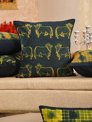 Orange and Indigo Cotton Cushion Cover (L - 15.5in, W - 15.5in)