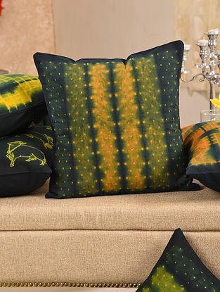 Orange and Indigo Cotton Cushion Cover (L - 16in, W - 15.5in)