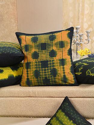 Orange and Indigo Cotton Cushion Cover (L - 16in, W - 16in)