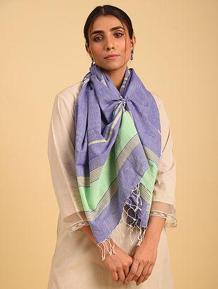 Blue Handloom Jamdani Cotton Stole