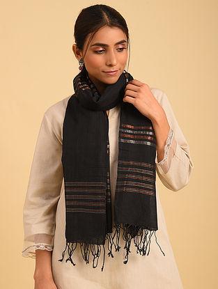 Black Handloom Jamdani Cotton Stole