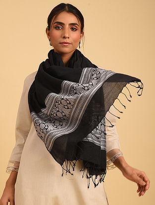 Black Handloom Baluchari Cotton  Stole