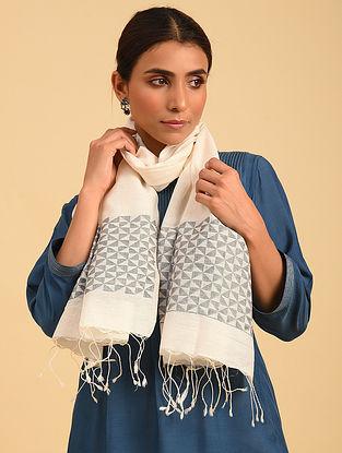 Ivory Handloom Jamdani  Silk Cotton Stole