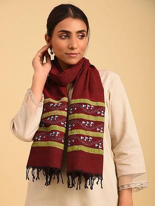 Red Handloom Kantha  Cotton Khesh Stole