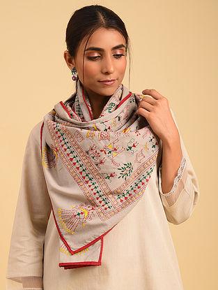 Grey Handloom Kantha Cotton Stole