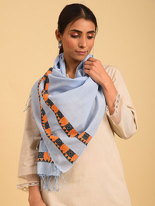 Blue Handloom Cotton Stole