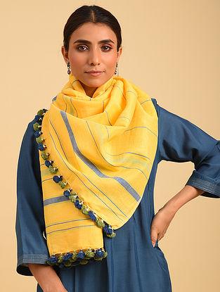 Yellow Handloom Cotton Linen Stole