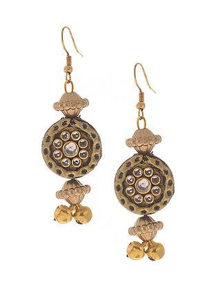 Black Gold Tone Kundan Earrings