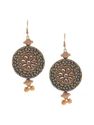 Turquosie Gold Tone Kundan Earrings