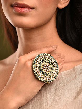 Turquoise Gold Tone Kundan Ring