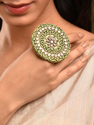 Green Gold Tone Kundan Ring