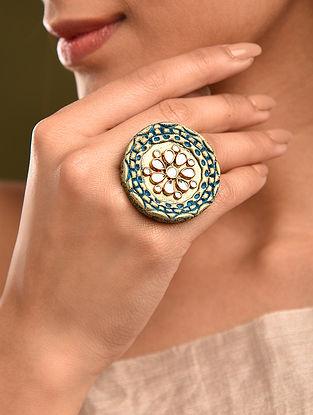 Turquosie Gold Tone Kundan Ring