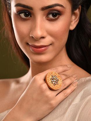 Orange Gold Tone Kundan Ring
