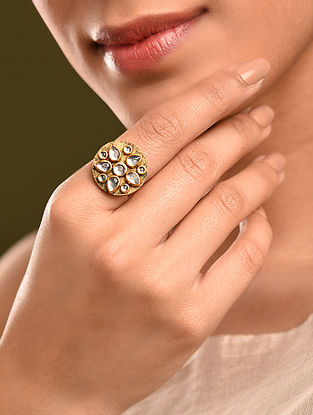Black Gold Tone Kundan Ring