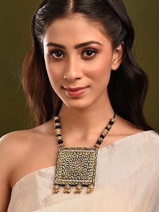 Black Gold Tone Handcrafted Kundan Necklace