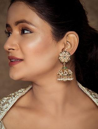 Green White Gold Tone Jadau Jhumki Earrings With Pearls