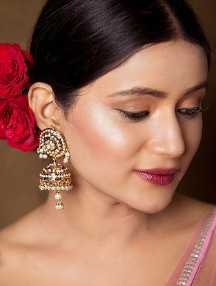 White Gold Tone Jadau Jhumki Earrings With Pearls