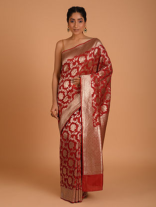 Red Handwoven Benarasi  Silk Saree