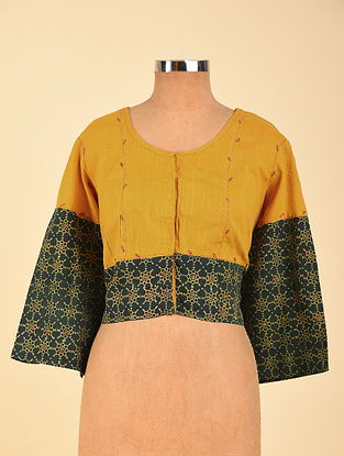Yellow Hand Embroidered Semi Stitched Cotton Blouse