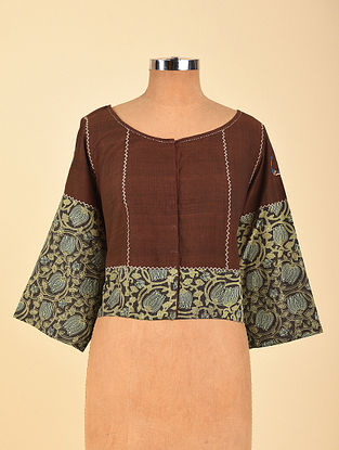 Brown Hand Embroidered Semi Stitched Cotton Blouse