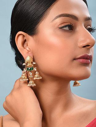 Green Gold Tone Kundan Silver Earrings With Pearls