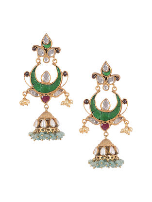 Red Green Gold Tone Silver Jhumki Earrings With Pearls