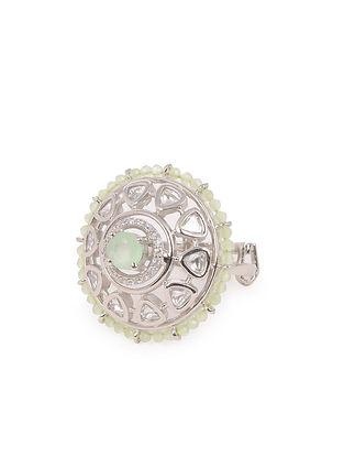 Silver Kundan Adjustable Ring