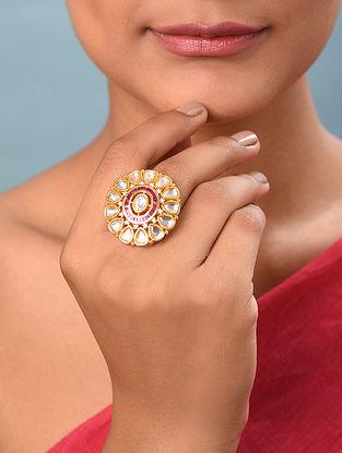 Red Gold Tone Kundan Silver Adjustable Ring