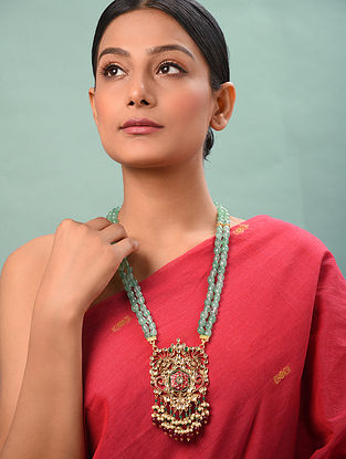 Red Green Gold Tone Kundan Silver Necklace