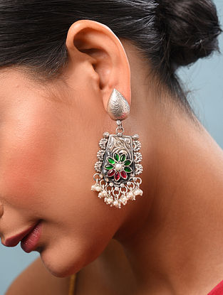 Red Green Kundan Silver Earrings With Pearls