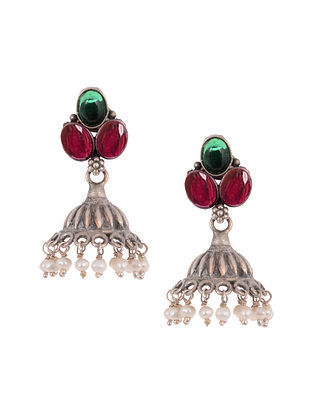 Pink Green Silver Earrings with Pearls