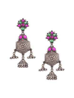Pink Green Tribal Silver Earrings
