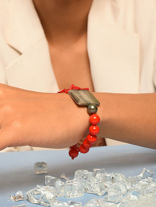 Red Grey Beaded Bracelet With Agate Pearls And Mother Of Pearl