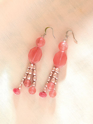 Pink Beaded Earrings With Cherry Quartz And Pearls