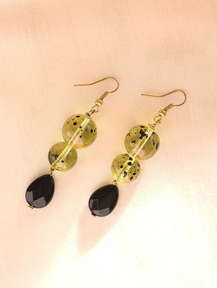 Yellow Black Beaded Earrings With Quartz And Onyx