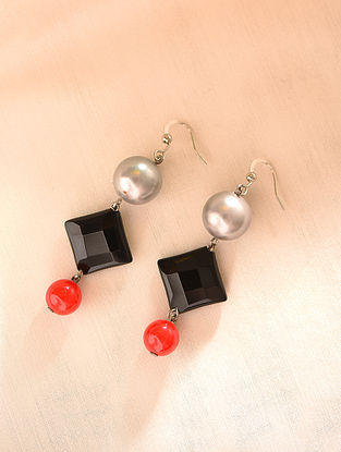 Black Orange Beaded Earrings With Pearls And Agate